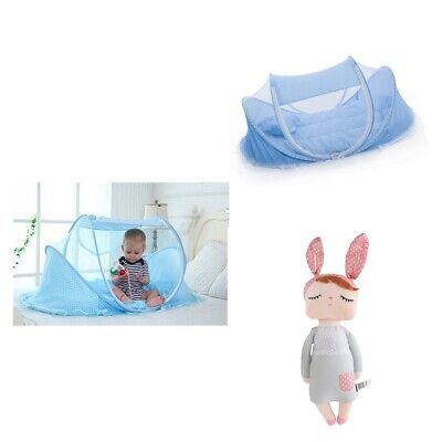 Baby Portable Crib Play Shades Travel Mosquito Tent with Bunny Plush Dolls