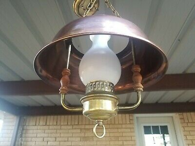 Vintage 1960s Copper Colored Brass Frosted Farmhouse Kitchen Dining Light Swag