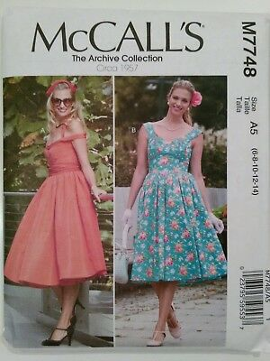 Retro 1950s Pin Up Dress Pattern, McCall's 7748, Vintage 1957, Size 6-14
