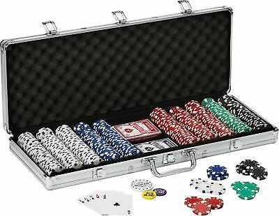Poker Chip Set Fat-Cat Texas Hold em Clay with Aluminum Case 500  Dice Chips