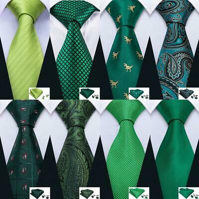 Mens Ties Silk Green Teal Yellow Pailsey Solid Striped Plaid Tie Necktie Set