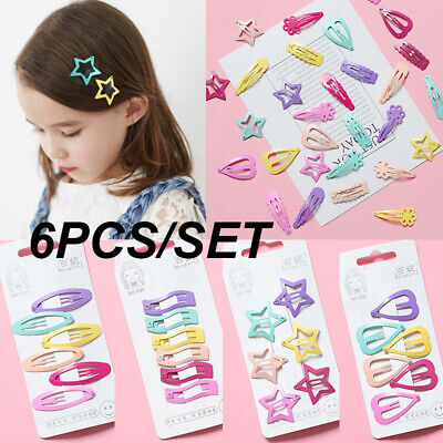 6Pcs/Pack Candy Color Hairpins Snap Hair Clip for Kids Girl Barrettes BB Clip hi