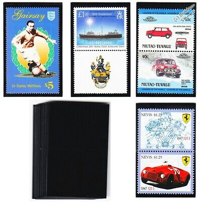Pack of 50 x PRINZ Black Gard Stamp Mounts (Large 39mm x 62mm)
