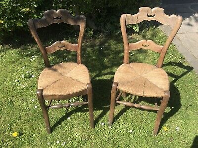Pair Of 19th Century French Rush Seated Chairs
