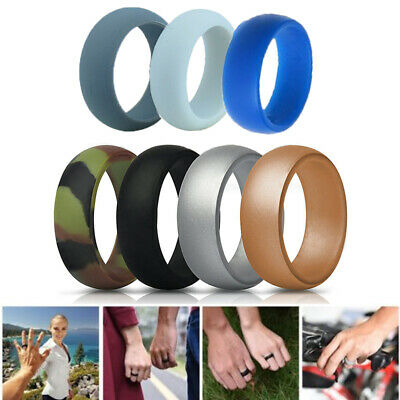 7 Pcs Men Wedding Ring Silicone Rubber Band Comfortable Rings Flexible Size 7-13