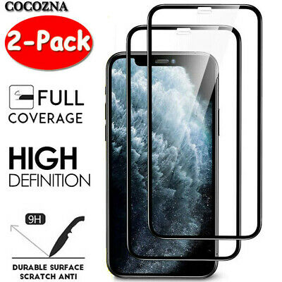[2-Pack] For iPhone X XR XS Max FULL COVER 10D Tempered Glass Screen Protector