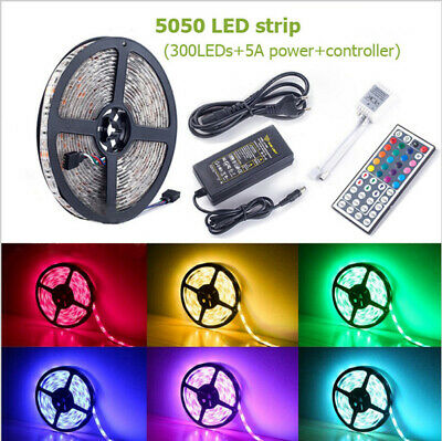 5050SMD LED Strip Light RGB 5M 300 Waterproof IR Controller W/ Power Adaptor