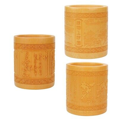 New Bamboo Cylinder Pen Pencil Pot Holder Container Organizer Desk Stationery