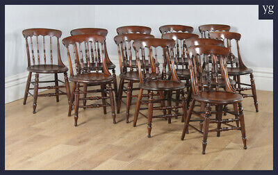 Antique Set 12 Twelve Victorian Ash Elm Windsor Spindle Bar Back Kitchen Chairs