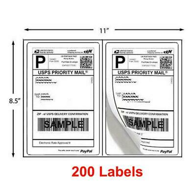 200 Half Sheet 8.5 x 5.5 Shipping Labels 2/Per Sheet Self Adhesive Round Corner