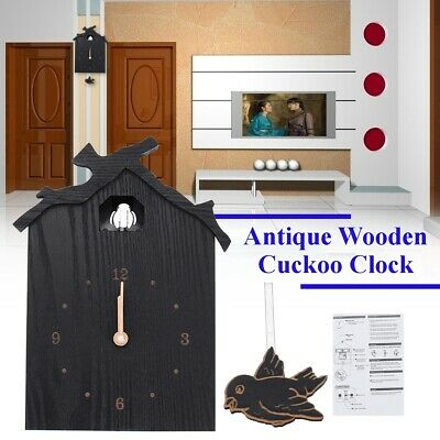 Black Antique Wooden Cuckoo Clock Time Bell Swing Alarm Watch Wall Home Decor