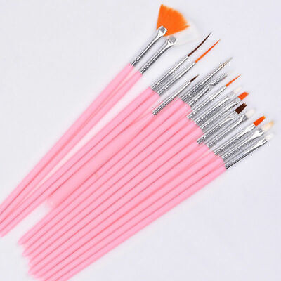15X Nail Art Gel Painting Drawing Dotting Pen Polish Tips Brush Set Kit UK