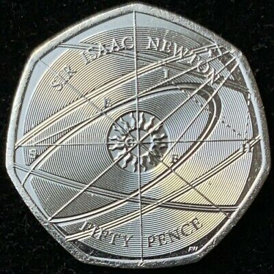 Rare Sir Isaac Newton 2017 50P Fifty Pence Coin - Royal Mint Uncirculated Coin