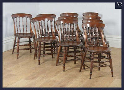 Antique Set of 10 Victorian Ash & Elm Windsor Spindle Bar Back Kitchen Chairs (C