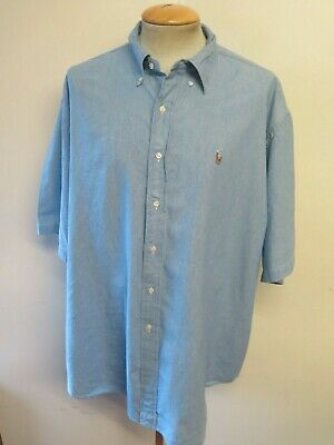 "Ralph Lauren POLO men's Blue Short Sleeve Casual Shirt 2XL 52-54"" Euro 62-64"