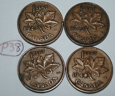 Canada 1940 1941 1942 1943 1 Cent Copper One Canadian Penny 4 Coins Lot #P38