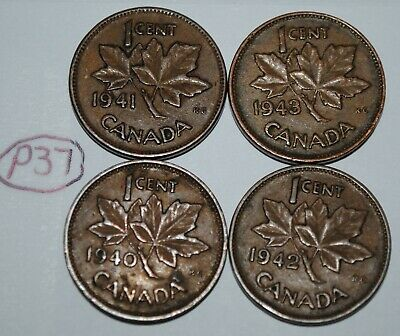 Canada 1940 1941 1942 1943 1 Cent Copper One Canadian Penny 4 Coins Lot #P37