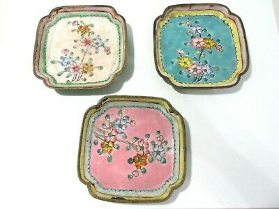 Copper Enamel Dish Vintage China Lot Of Three As Is