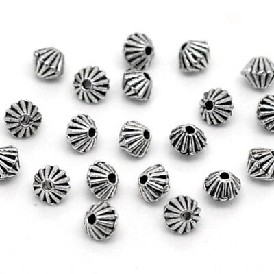 200Pcs Silver Tone Bicone Spacer Beads Findings