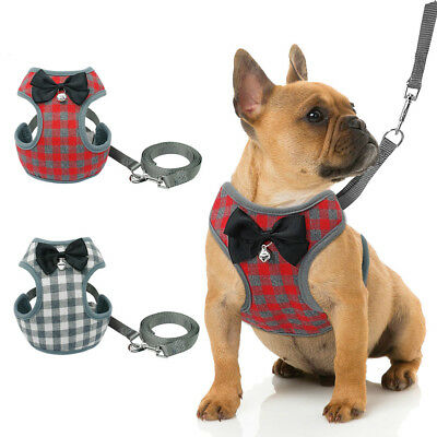 No/Non Pull Small Dog Harness Leash lead Pet Cat Soft Mesh Padded Vest Bowknot