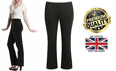 New Womens Girls Ribbed Elasticated Waist Stretch Bootleg Work School Trousers