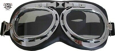 Motorcycle Helmet Goggles Glasses Red Baron Old School Clear Lens