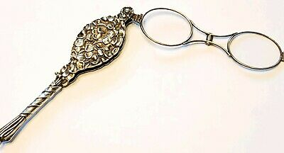UNGER BROS Sterling Silver flowers antique Victorian Lorgnette opera glasses