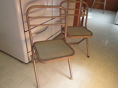 Antique Vintage Child's Childrens HAMPTON Folding Chair Mid Century Metal