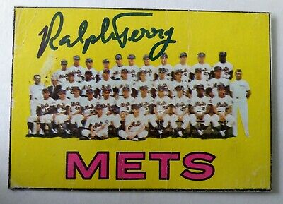 Ralph Terry signed Topps 1966 #42 New York Mets team card (trimmed)