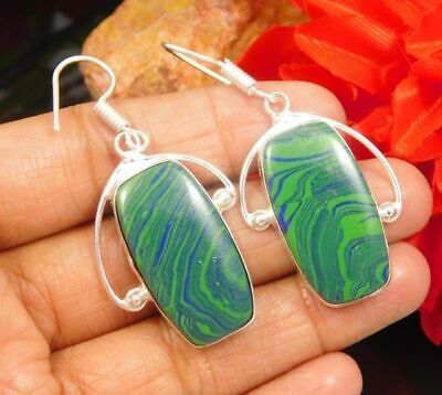 Rainbow Calsilica Stone .925 Silver Plated Earrings Bohemian Fashion Gift JC939