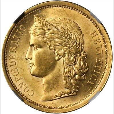 Switzerland Republic 1886  20 Francs Gold Coin Uncirculated Certified Ngc Ms62