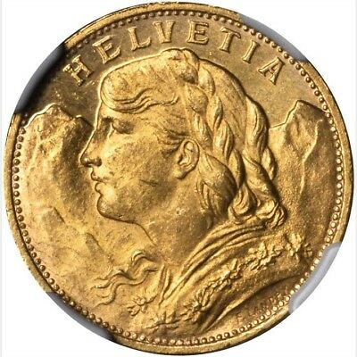 Switzerland Republic 1926-B  20 Francs Gold Coin Uncirculated Certified Ngc Ms64