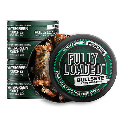 Fully Loaded Chew Tobacco and Nicotine Free Wintergreen Bullseye Pouches Refr...