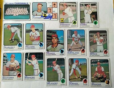 14 x Topps 1973 St. Louis Cardinals baseball cards - hand signed Barney Schultz
