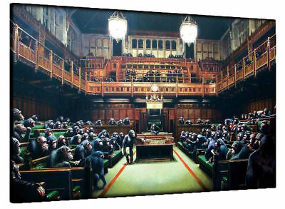 Banksy Monkey Parliament 20X30 Inch Large Framed Canvas Painting