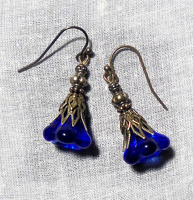 Filigree Sapphire Blue Glass Earrings Flower Earrings Victorian Fairy Medieval