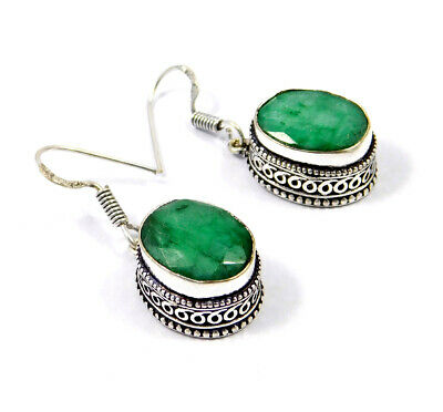 Dyed Emerald Carving Silver Plated Earrings New Fashion Jewelry Gift JC9171