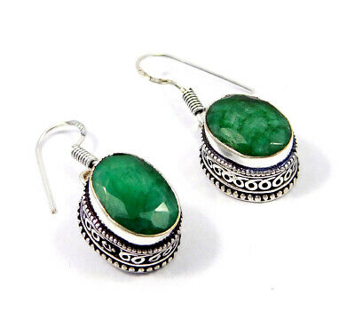 Dyed Emerald Carving Silver Plated Earrings New Fashion Jewelry Gift JC9175