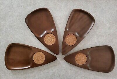 Mid Century Modern Carved Wood Teardrop Serving Snack Trays Coasters Set 4 MINT