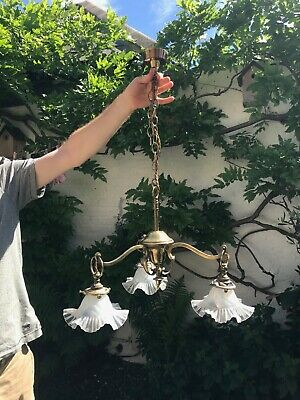 Art Nouveau  Brass 3 Arm Chandelier with Hand Blown Glass Shades
