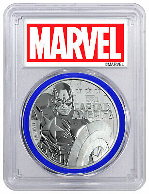 2019 Tuvalu Captain America 1 oz Silver Marvel PCGS MS69 FS Blue Gasket SKU56990