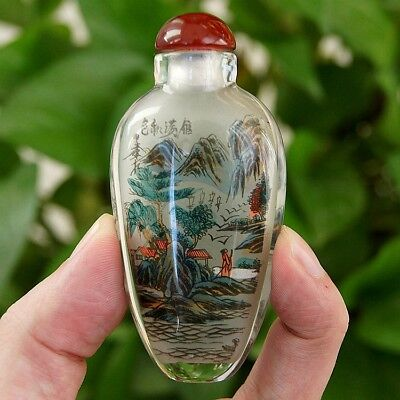 Chinese Handmade Inside painted landscape&Autumn scenery glass Snuff Bottle