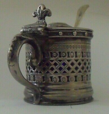 Vintage Silver plated Mustard Pot - complete with Blue Liner