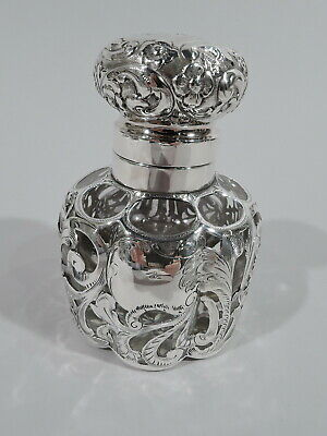 Antique Inkwell - Art Nouveau Inkpot - American Clear Glass & Silver Overlay
