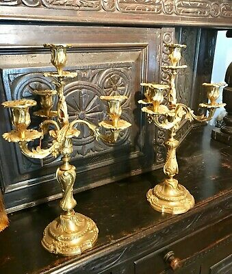 Pair Antique 19Th C French Louis Xv Style Gilded Candelabras