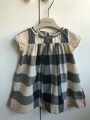 Genuine Burberry baby girls cotton check dress (age 12 month)
