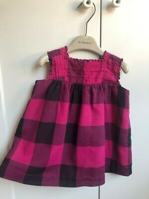 Burberry Baby Girls fuchsia Check Dress  (size 12 month)
