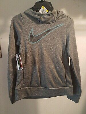 Girls Nike Therma Pullover Hoodie Gray Mint Swoosh Logo Dri-Fit New