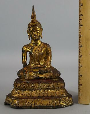 Antique 19thC Rattanakosin Kingdom Siam Thai Gold Gilt Bronze Buddha, NR