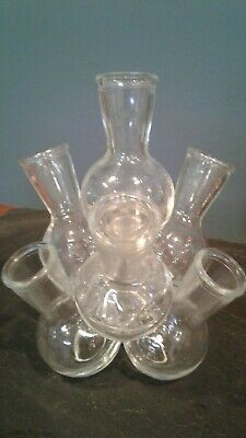 Vintage  Glass Cluster 7 Stem Vase.